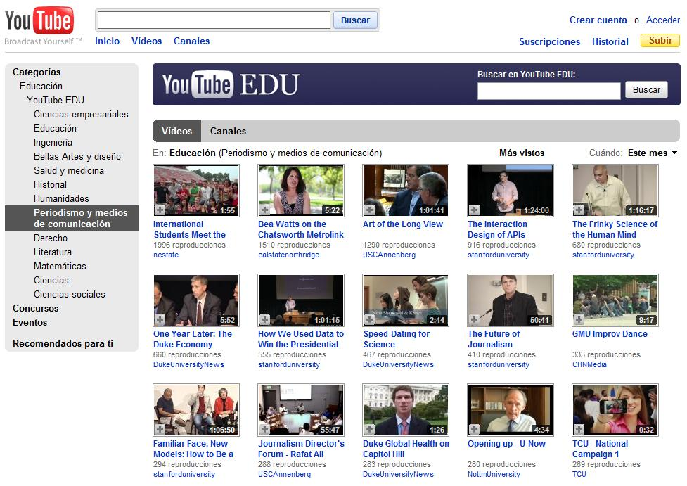 Portada del canal de Periodismo de YouTube EDU