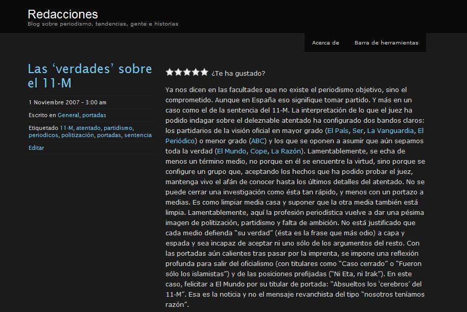 Así lucía la primera versión del blog en noviembre de 2007.