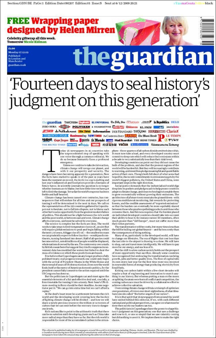 Portada del The Guardian de hoy con el editorial conjunto.